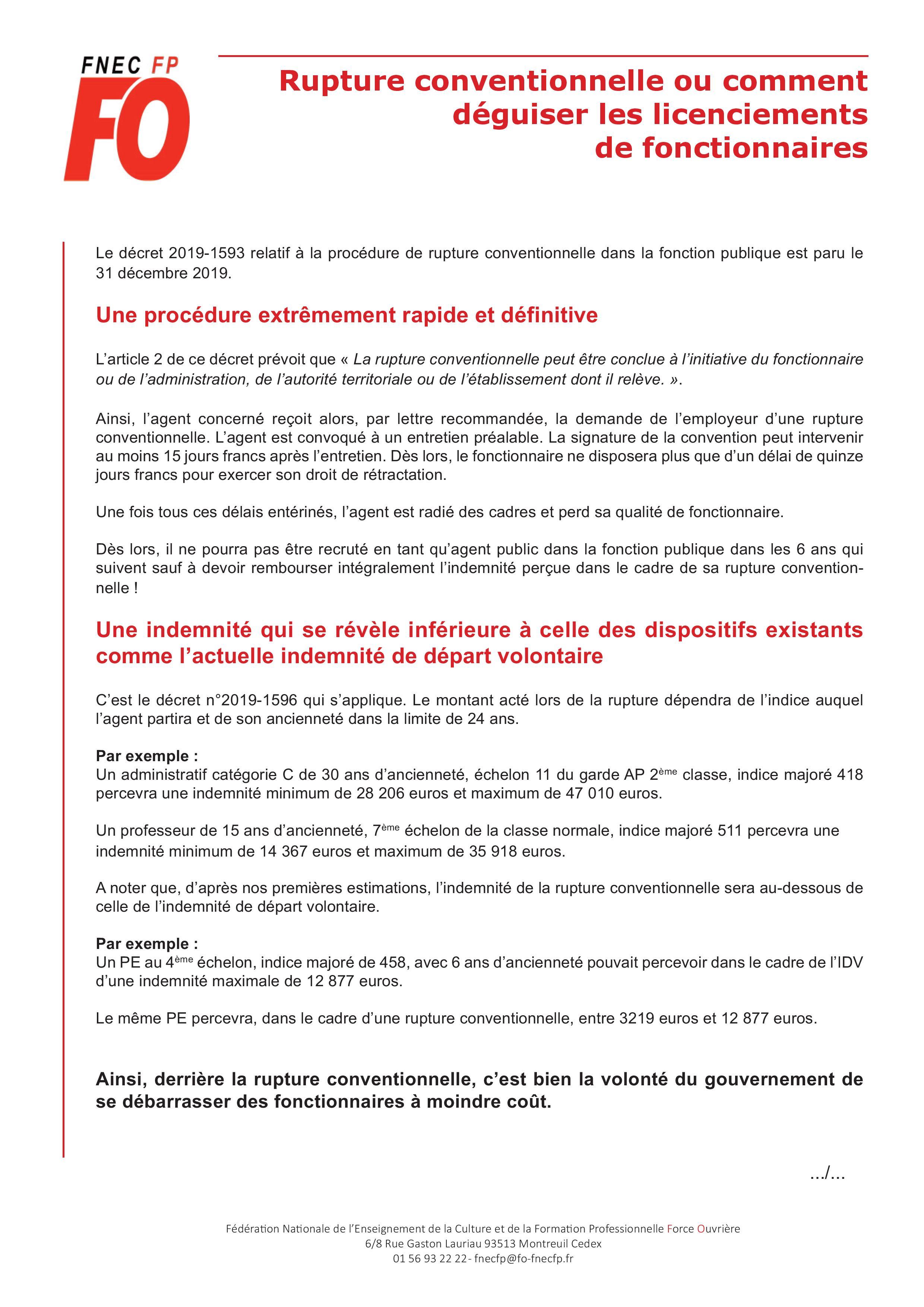 Rupture Conventionnelle Ou Comment Deguiser Les Licenciements De Fonctionnaires Snudi Fo 33