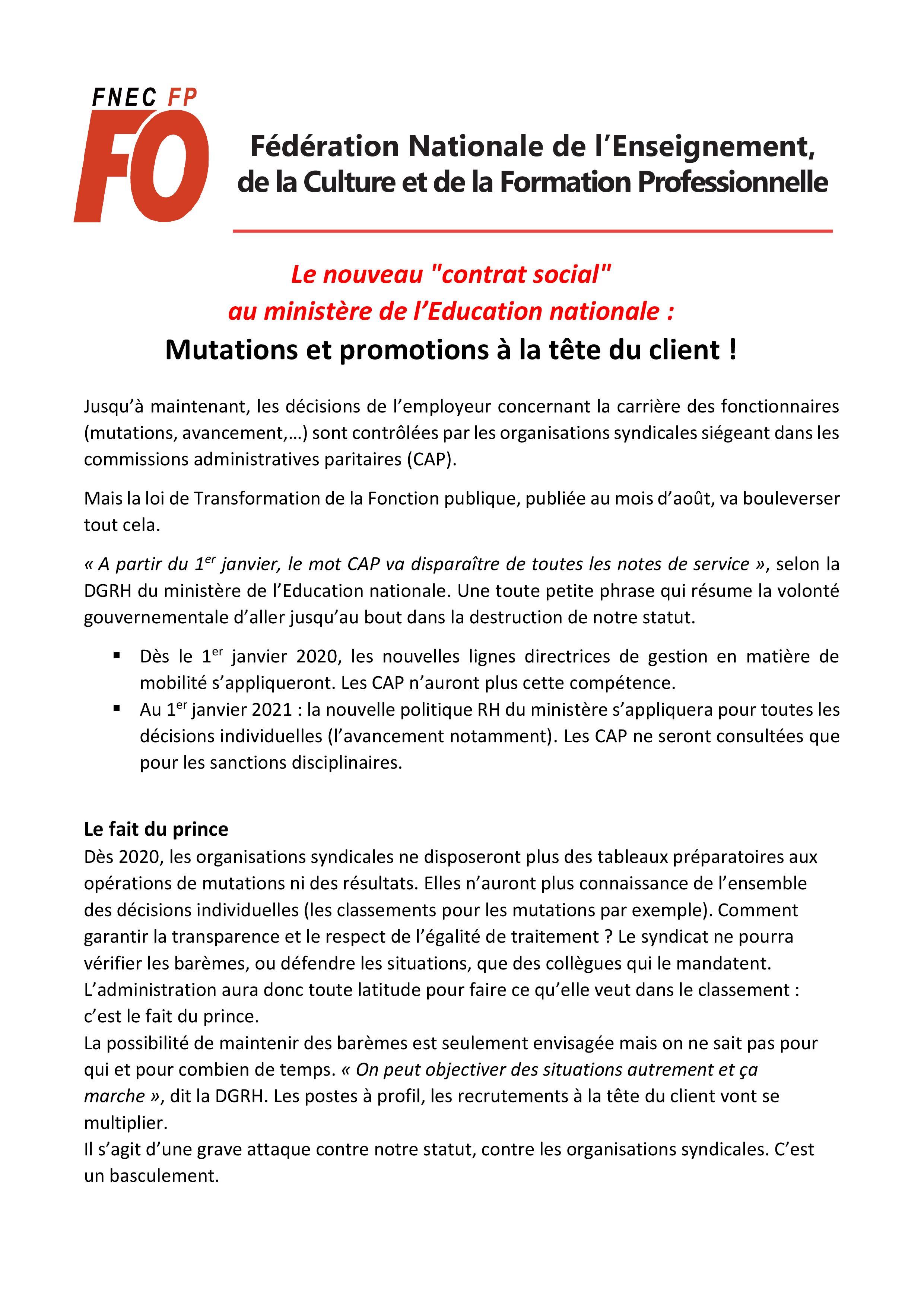 Mouvement départemental   Snudi FO 33